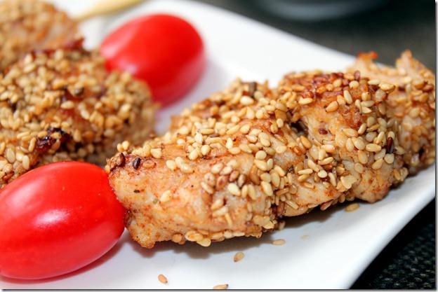 brochette de poulet mariné