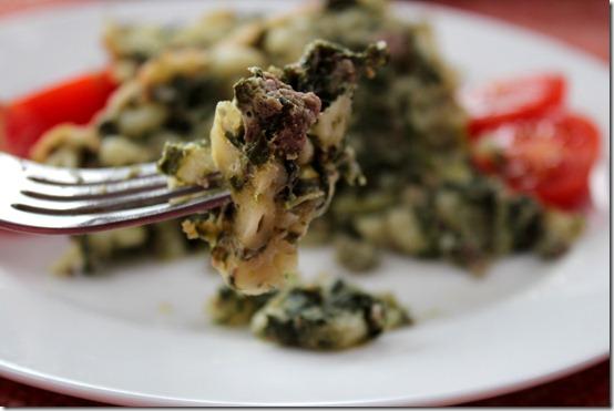 gratin de pâtes aux épinards
