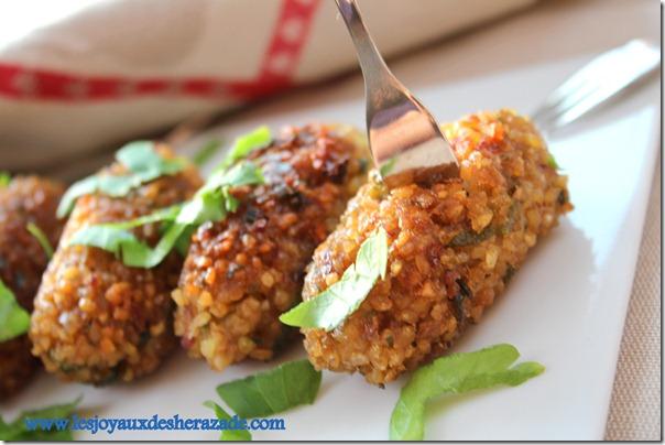 kibbeh, kebbe, entrée libanaise, entrée vegetarienne