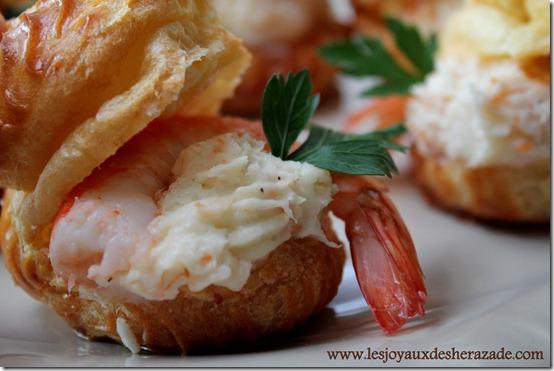 recette pour apéro dinatoire, choux salé à la bechamel et aux crevettes
