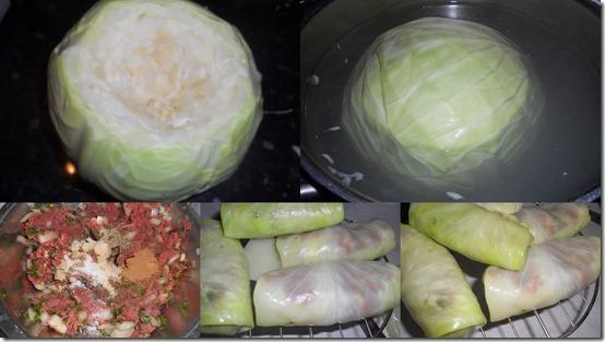 préparation de choux farcis et frit