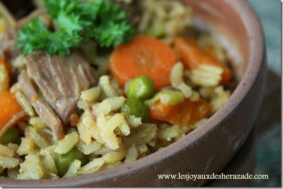 recette de riz, carottes et petits pois