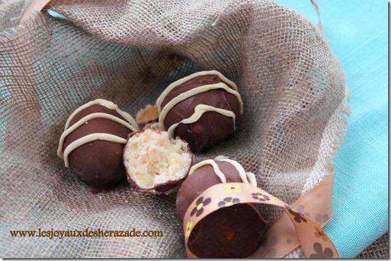 recette de truffes au chocolat blanc , amandes