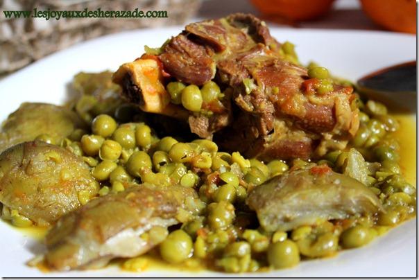 recette de cuisine algerienne, tajine aux petits pois, mar9a مرقة جلبانة بالقرنون