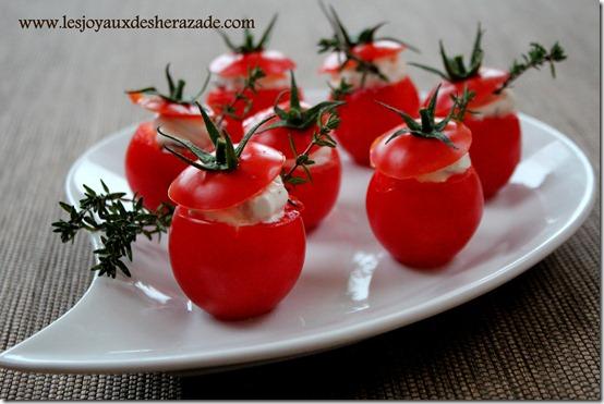 Amuse bouche, tomates cerises farcies pour apéritif