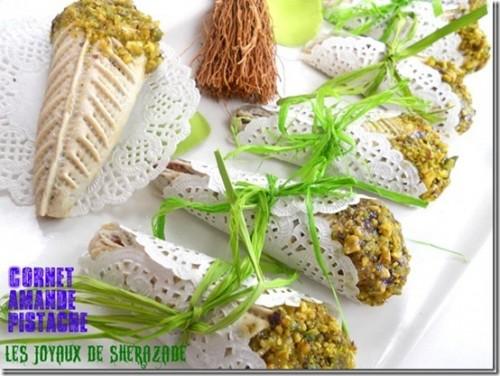 Gateau algerien : cornet amande – pistache