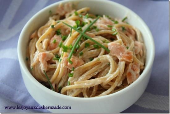 Spaghetti au saumon fumé – pâte au saumon fumé