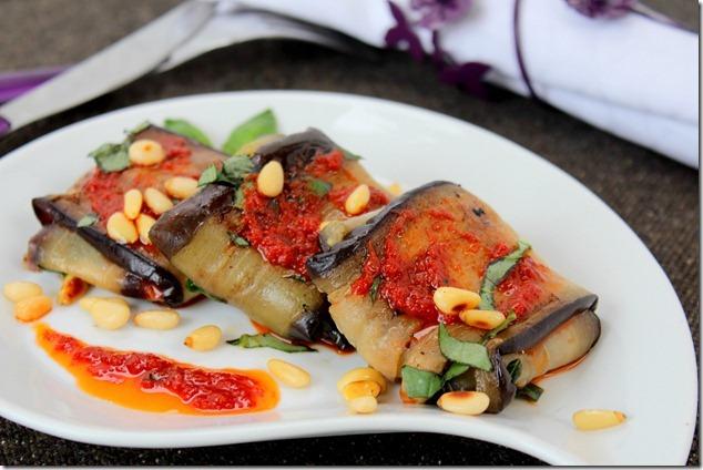 Aubergines à la mozzarella (paupiettes d'aubergines)