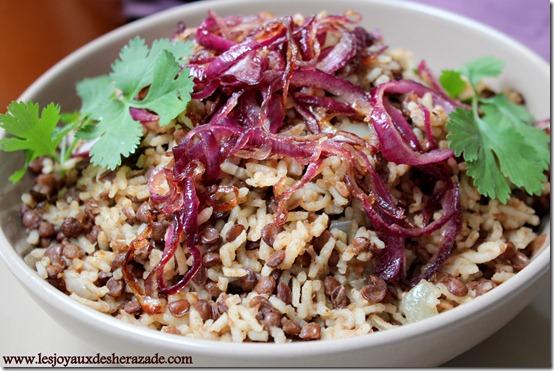 riz aux lentilles , recette egyptienne