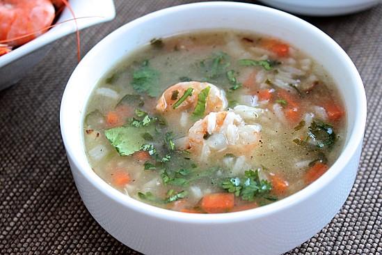Soupe de crevettes, riz