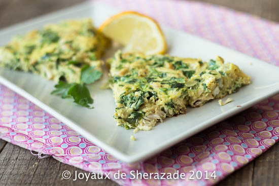 Maadnoussia, omelette poulet-persil