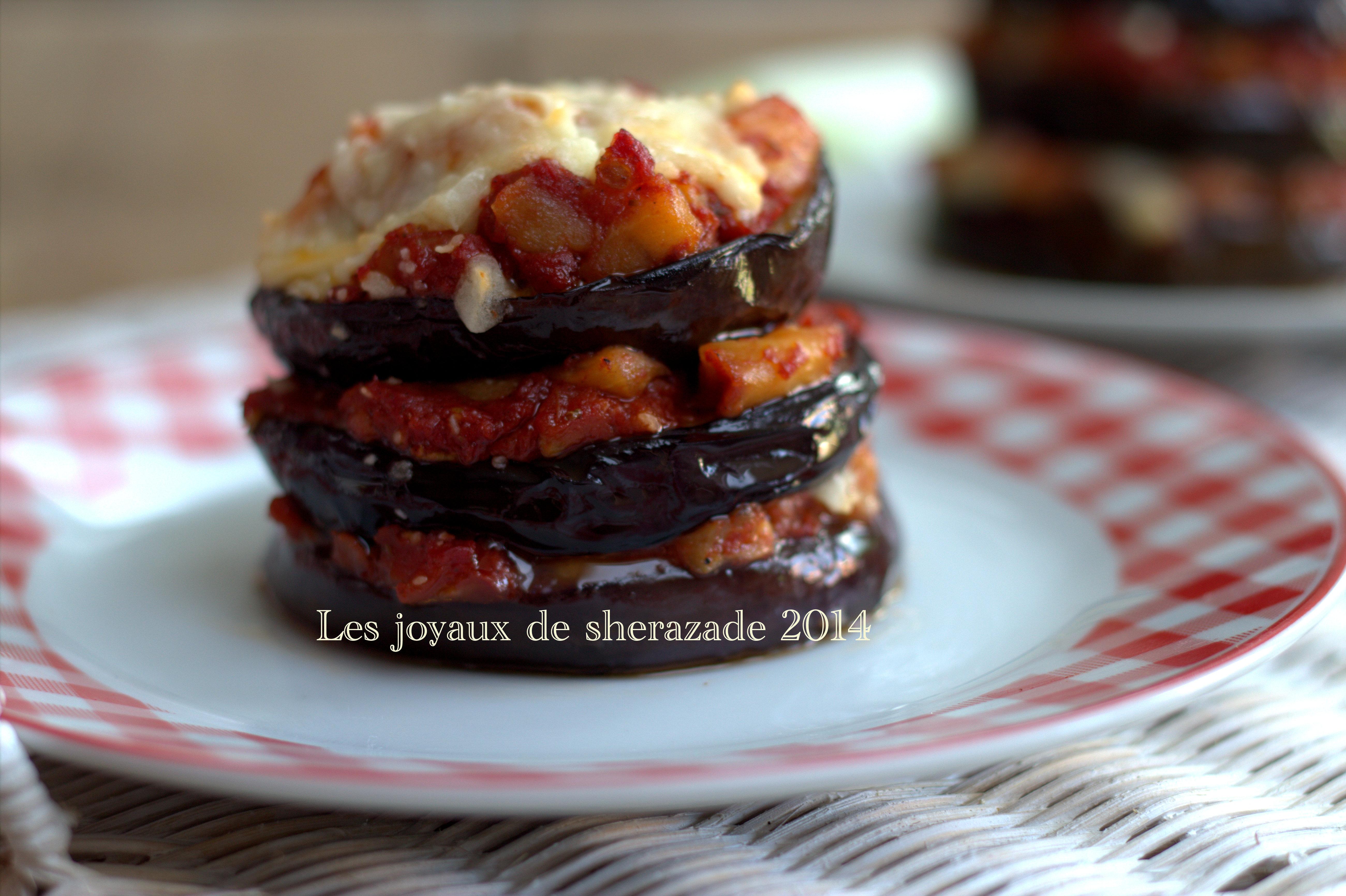 Millefeuille d'aubergines tomates mozzarella