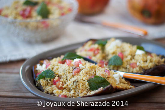 Chermoula d'aubergine rôtie au couscous