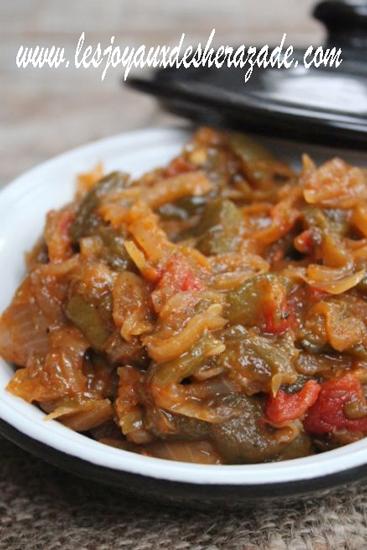 chachoukha aux poivrons aux oignons et tomates