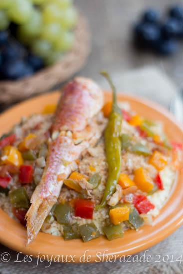 Couscous aux poissons / rouget , poivrons