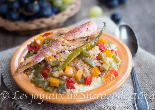 Couscous aux poissons/ rougets et poivrons