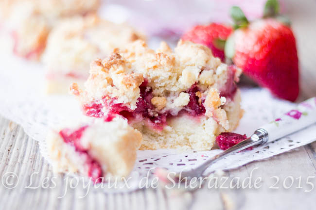 Gâteau aux fraises façon crumble