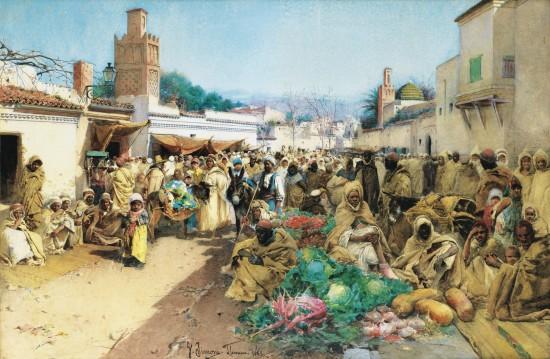 Marché(souk) traditionnel de Tlemcen en 1883.