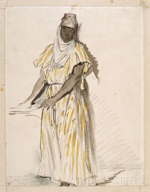 """Portrait d'une """"nègre d'Alger"""" pouvant faire rappeler fortement à une mnaouliya d'Annaba."""