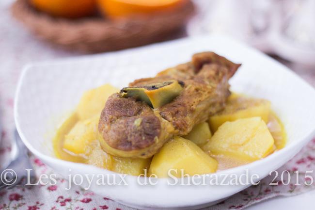 Tajine d'agneau aux pommes de terre de Tlemcen - (Batata m'hammra / Batata sefra)