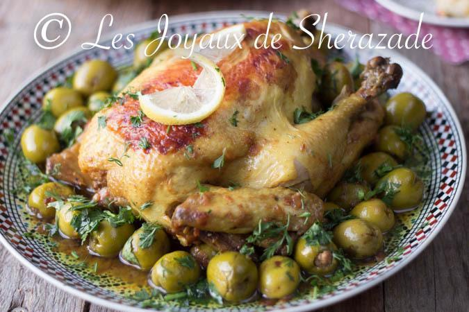 El jej be zitoun mrezem - Poulet aux olives farcies