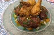 Tajine de poulet au chausson de viande hachée