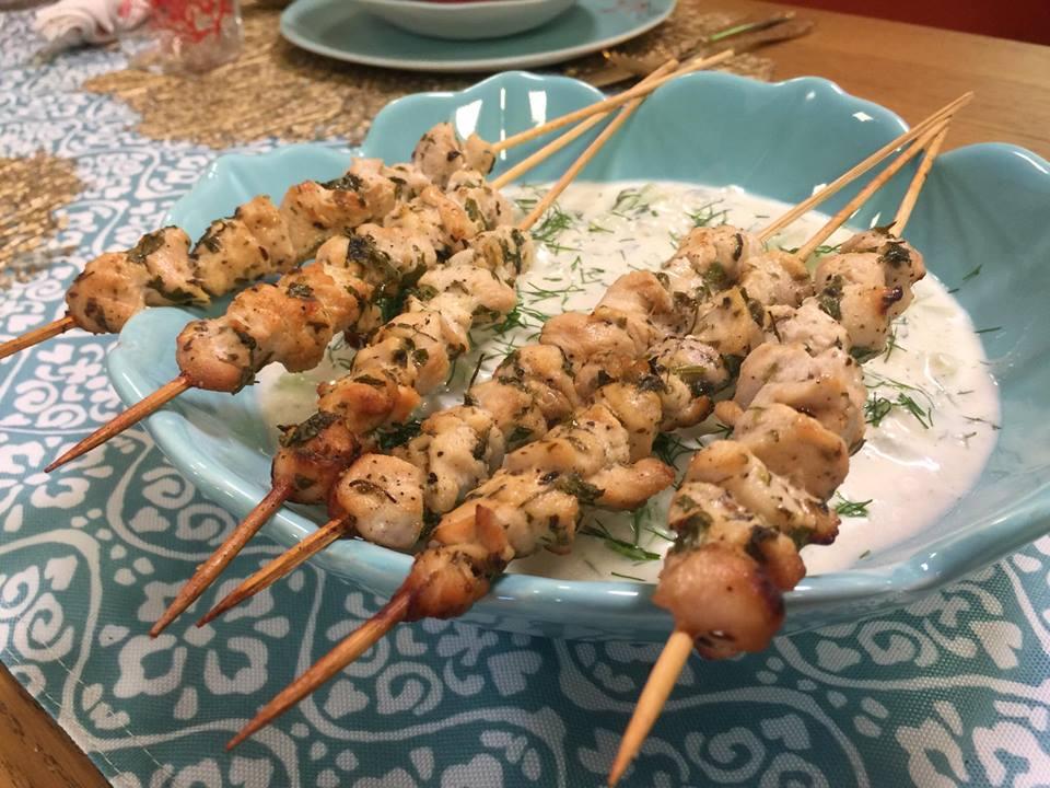 brochette de poulet à la grecque