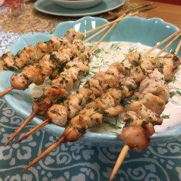 Recette de brochettes de poulet à la grecque